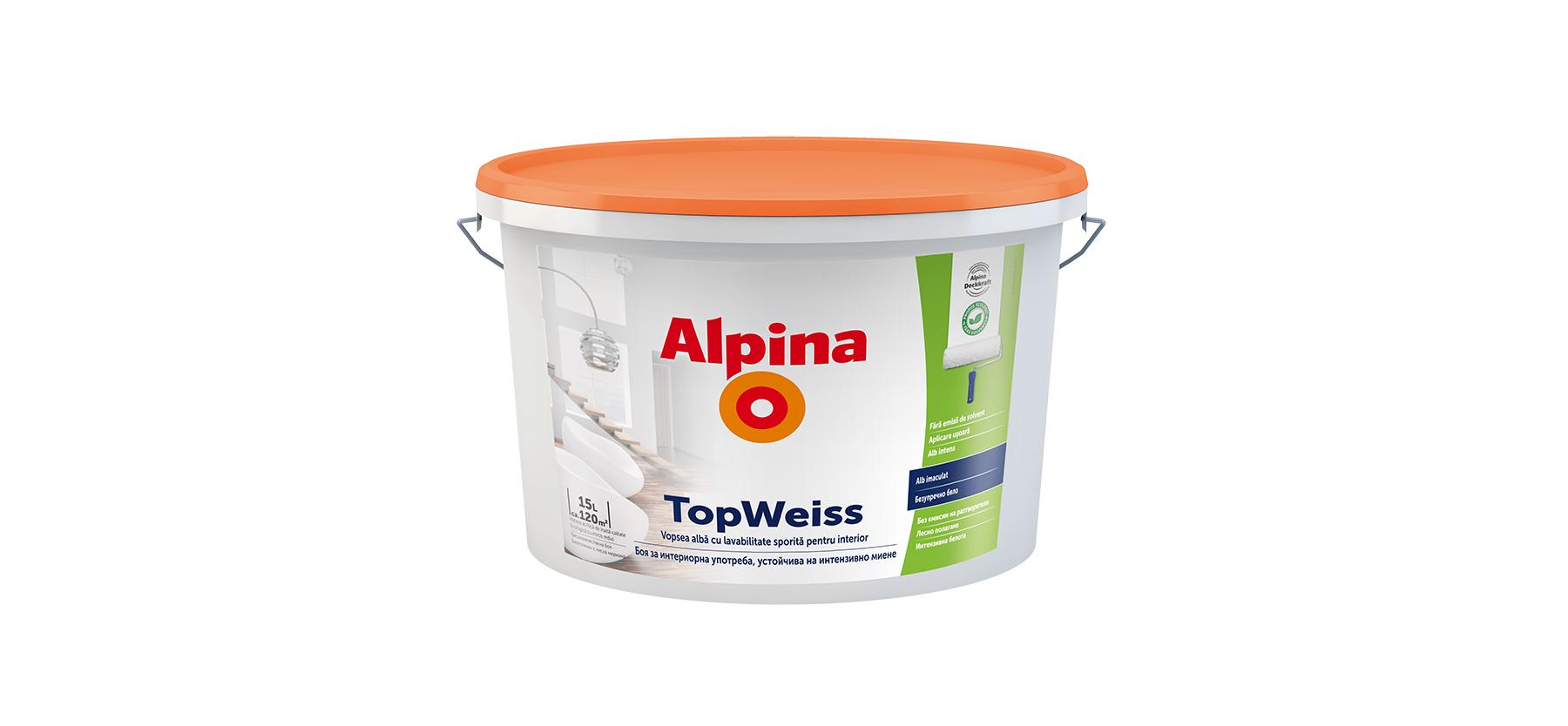 Vopsea lavabila de calitate Alpina Top Weiss